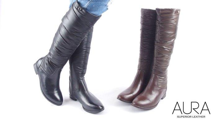 AURA[輕暖纖長。輕羽絨MIX牛皮長靴]-深邃黑/可可棕(5~9)大小尺碼