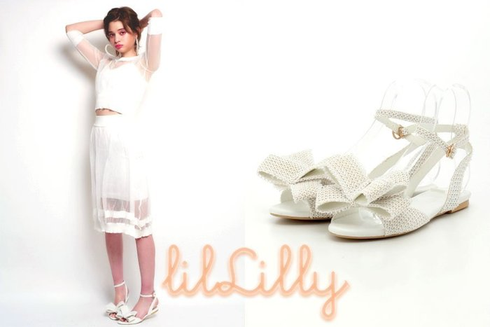 SHINY SPO獨家代理日本品牌 lilLilly 簡約甜美立體蝴蝶結平底涼鞋 白色