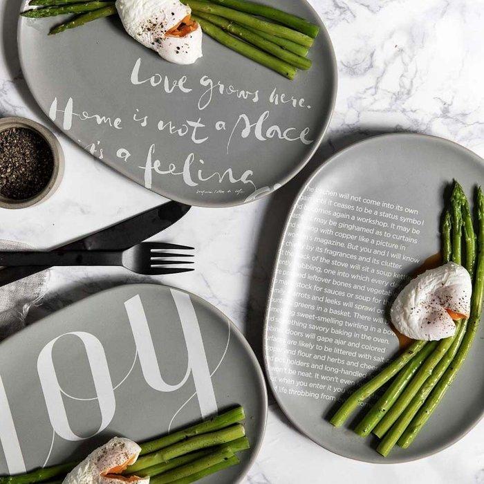 MAJ.POINT-陶瓷盤碟 早餐鬆餅 婚宴擺盤時尚簡約 英文字母西餐牛排蛋糕 收納盤 北歐INS 代購展示 美食攝影灰