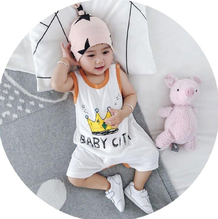 現貨~🍎MINI貝貝城🍎童裝夏寶寶無袖連體衣字母印花爬服嬰兒衣服(白色)