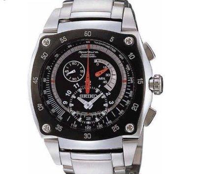 可議價.「1958 鐘錶城」SEIKO精工錶 時尚人動電能 計時腕錶SNL033J1/ 7L22-0AM0D/  (黑/ 46mm) 新北市