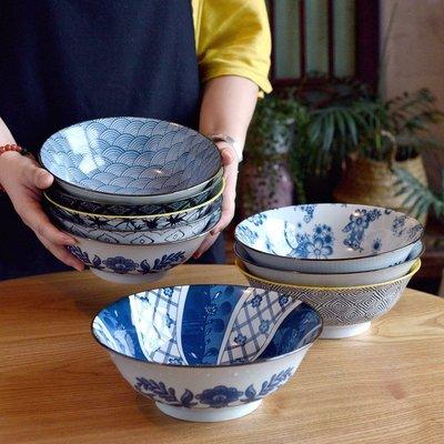 聚吉小屋 #熱賣#大大大碗到日式復古8.2英寸大湯碗釉下彩面碗湯盆大海碗懷舊古樸(價格不同 請諮詢後再下標)