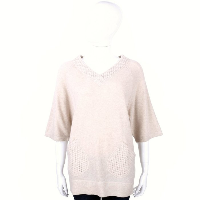 米蘭廣場 ALLUDE 30%CASHMERE 美麗諾羊毛V領織紋上衣(粉裸色) 1440547-E2