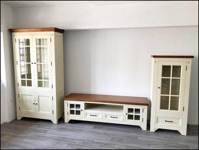 實木雙色白色有門玻璃櫃酒櫃展示櫃書櫃(矮) 鄉村風格子窗高低櫃碗碟櫃收納櫃碗盤櫃落地櫃公仔北歐風儲物櫃【歐舍傢居】