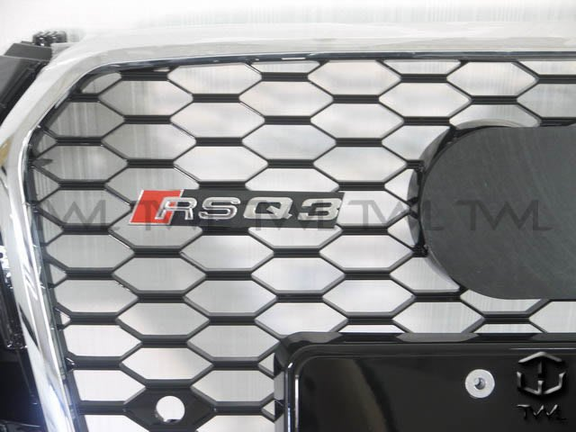 《※台灣之光※》全新 AUDI 奧迪Q3 12 13 14 15年新款RS RSQ3款改裝蜂巢電鍍框黑網水箱罩 台灣製造