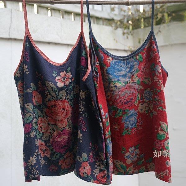 【如茶】復古做舊印花雙層棉短吊帶