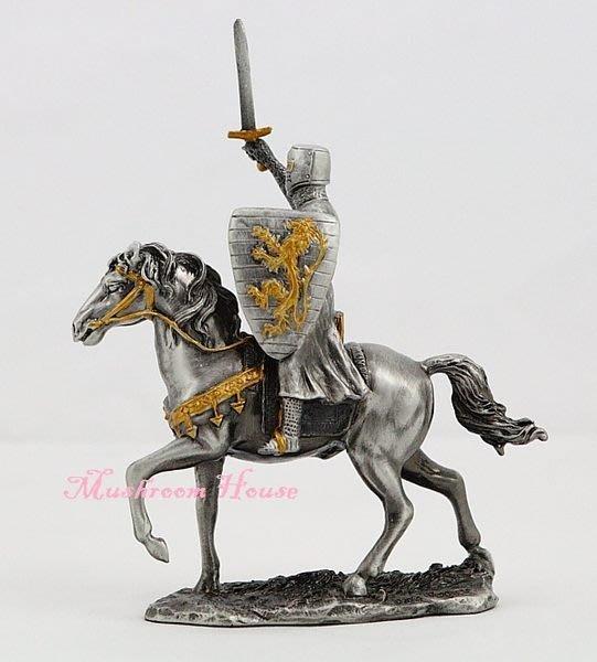 點點蘑菇屋{合金騎士擺飾}合金中古騎士(二)~十字軍右手舉劍獅子盾牌 鐵甲武士 歐洲中古世紀羅馬 盔甲武士 現貨