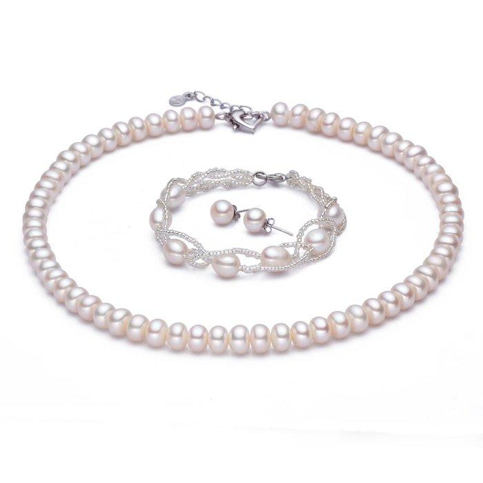 [C.M.平價精品館]現貨/8-9mm天然珍珠項鏈+手鏈+針式耳環三合一套裝
