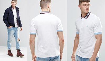 ◎美國代買◎ASOS代買Fred Perry藍條領雙色領口搭配藍色袖口的白色短袖polo衫~歐美街風~大尺碼~搶手貨