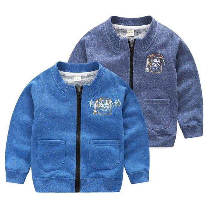 有家服飾男童立領外套 2019春裝新款童裝 兒童寶寶刺繡拉錬衫開衫休閒上衣