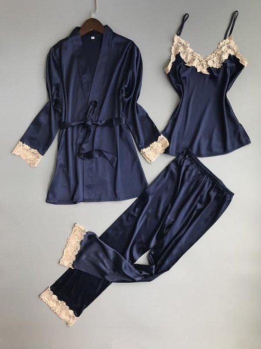廠家~最低價天天特價睡衣女性感三件套裝真絲吊帶長褲夏季睡袍女冰絲綢家居服