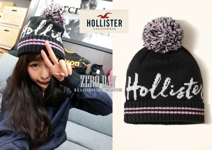 【零時差美國時尚網】A&F副牌HCO Hollister  Patterned Pom Beanie針織毛球毛帽黑色