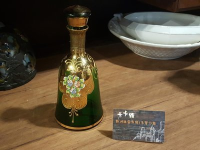 【卡卡頌 歐洲跳蚤市場/歐洲古董】歐洲老件_義大利 手工 金箔 手繪花朵 綠玻璃瓶 g0371✬