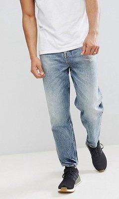 ◎美國代買◎ASOS酸洗波紋寛鬆褲管仿舊酸洗藍色寛鬆牛仔褲~歐美街風~大尺碼~