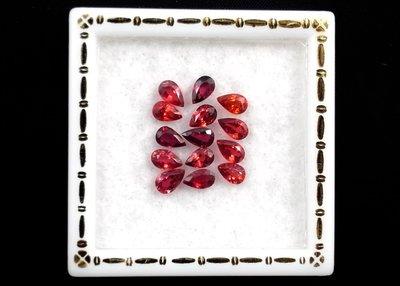 GA695 天然橘紅色剛玉SAPPHIRE 藍寶石 4.27ct ∕ 14 顆