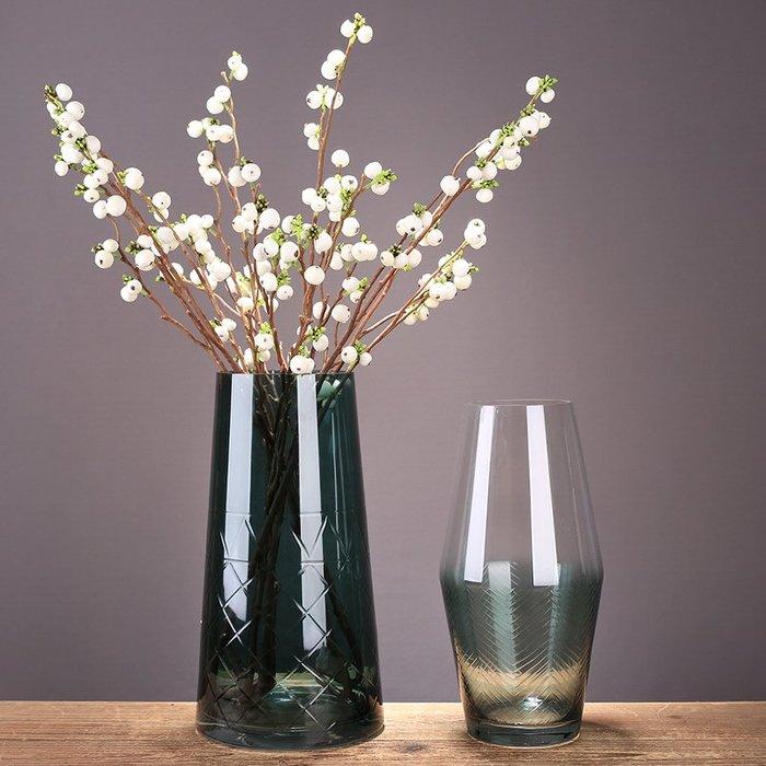 〖洋碼頭〗現代簡約透明灰綠色玻璃花瓶創意家居漸變色水培插花器玻璃瓶擺件 ysh607