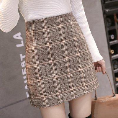 短裙 2019春夏新款格子包臀裙高腰半身裙女chic一步裙a字裙復古短裙潮