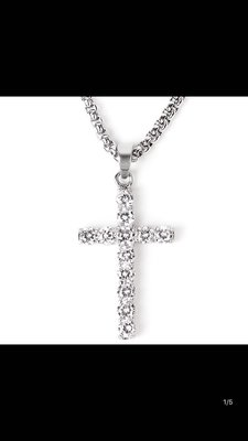 silver ice out cross necklace 十字架