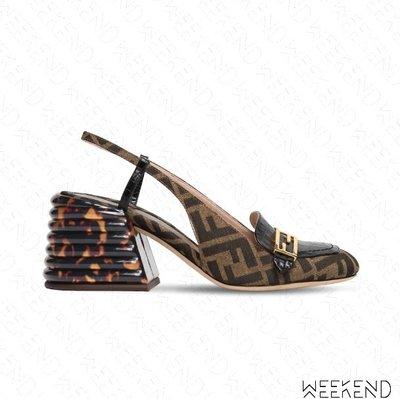 【WEEKEND】 FENDI Logo Promenades 帆布 露根 高跟鞋 棕色 20春夏