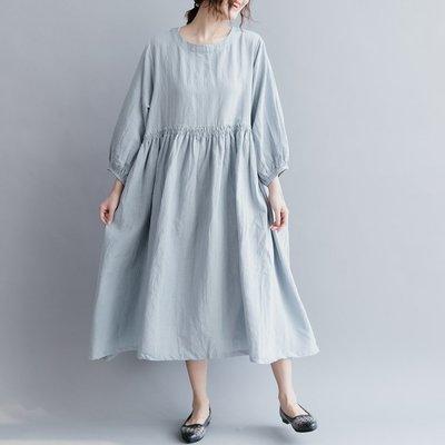 *菇涼家*新款燈笼袖大摆收皱腰宽松娃娃款棉麻连衣裙大码-浅蓝