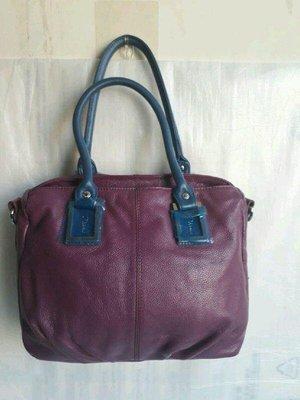 紫庭雜貨*真皮包 大包 全新Diana 黛安娜 藍紫色 肩背包 手提包 側背包平板包 展示包 特價
