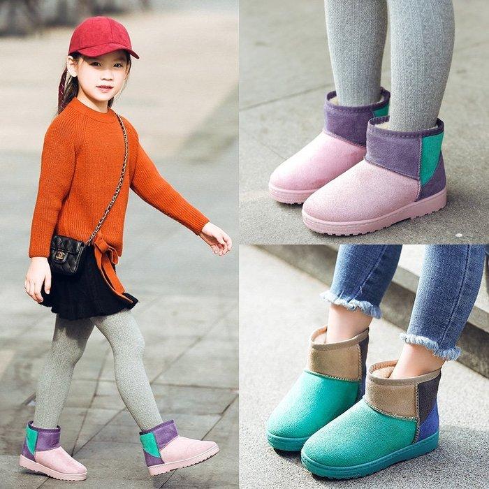 公主靴 女童雪靴 新款小朋友雪靴 防滑 軟底 兒童棉靴 2018冬季加絨保暖靴 短靴 中大童童靴