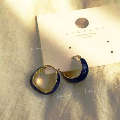 IN House*🇹🇼現貨 秀智同款 優雅 法式 琺瑯 滴釉 圓圈 復古 造型 金屬 穿洞 耳環 耳飾 耳圈