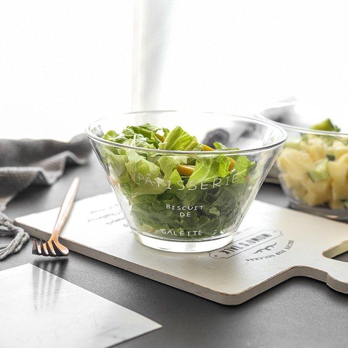 MAJ.POINT-玻璃沙拉水果碗 簡約法文字母蔬菜 甜點 廚房餐具烘焙 北歐風INS 生日派對野餐 婚宴 美食創意料理