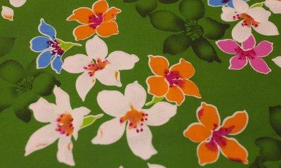 油桐花(綠色花影) 純棉花布 90cm寬 被單布/客家花布/抱枕/枕套/門簾/窗簾