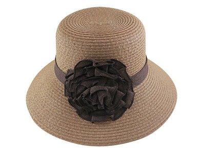 ☆二鹿帽飾☆ 夏日必備~日式淑女風一朵花藤鞭寬邊草帽(10cm)- 漁夫帽 遮陽帽