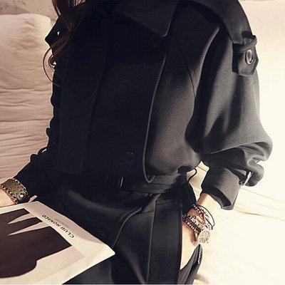 韓國空運連線 2017風衣外套女裝春秋中長款2017韓版雙排扣黑色繫帶女士風衣 修身顯瘦挑高長款氣質大衣 黑衣天使