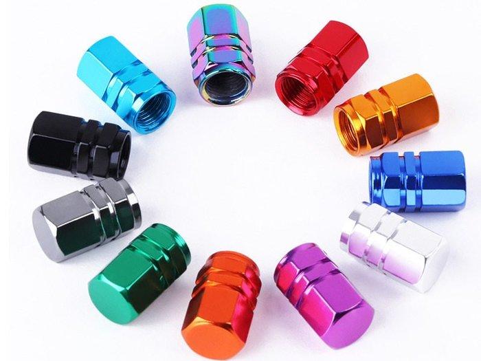【幸福2次方】鋁合金汽車輪胎氣嘴 通用型真空胎氣門嘴蓋 六角氣嘴帽 - 一套四個 - 多色可選
