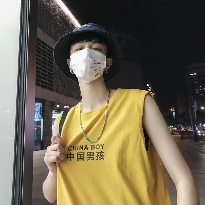 無袖T恤背心韓版夏季中國男孩印花無袖T恤寬鬆風潮流學生沙灘背心