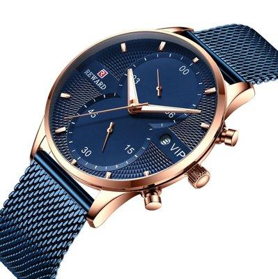 【潮裡潮氣】REWARD爆款男士手錶運動休閒手錶2019跨境歐美商務新款5針計時男士手錶RD82001M
