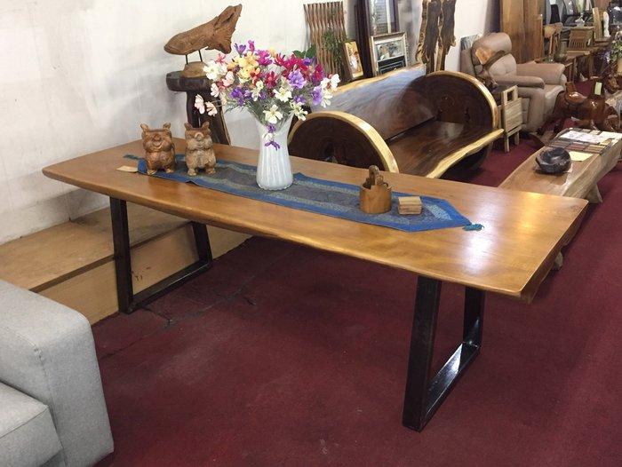 【肯萊柚木傢俱館】獨特自然 100%柚木桌面4~12.5公分厚 稀有二塊料拼 耐用 餐桌 工作桌 洽談桌 限量收藏品