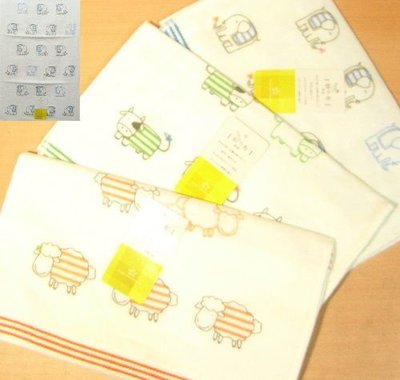 動物(象.羊.牛)特長紗布毛巾印花童巾/擦手巾