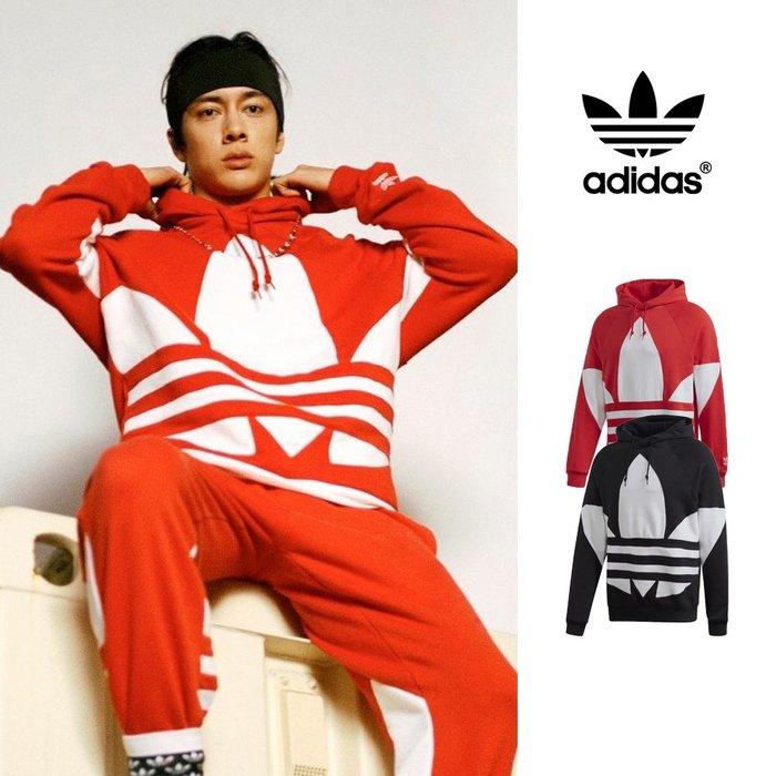【GT】Adidas 黑紅 連帽T恤 寬鬆 純棉 運動 休閒 帽衫 長袖 上衣 王嘉爾 愛迪達 三葉草 大Logo