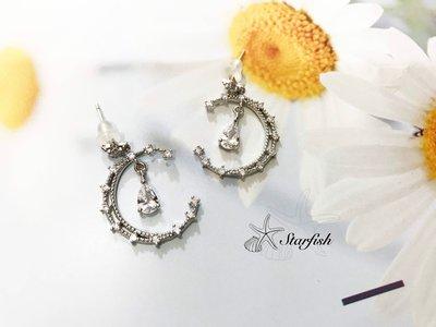 【海星 Starfish】|925銀針|✨絕美精緻韓系月光仙子夢幻水鑽月亮耳環✨(銀)