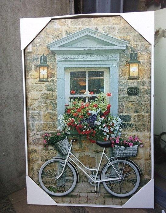 【浪漫349】多款均一價40*60CM 3D帆布畫+led燈窗台腳踏車 汽車偉士牌機車商店街景屋前 民宿餐廳