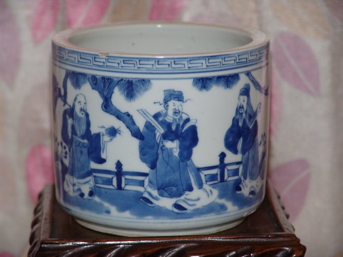 阿國的收藏˙˙清代˙青花˙˙福祿壽三星˙˙香爐