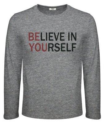 男長袖印花棉T -Believe in yourself ☆ Teeway好織物 ☆ MIT台灣製
