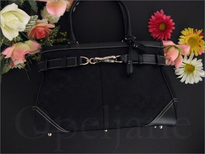 Coach Bag 黑色織布手提包醫生包側肩背包底有防磨釘附防塵袋 免運費 愛COACH包