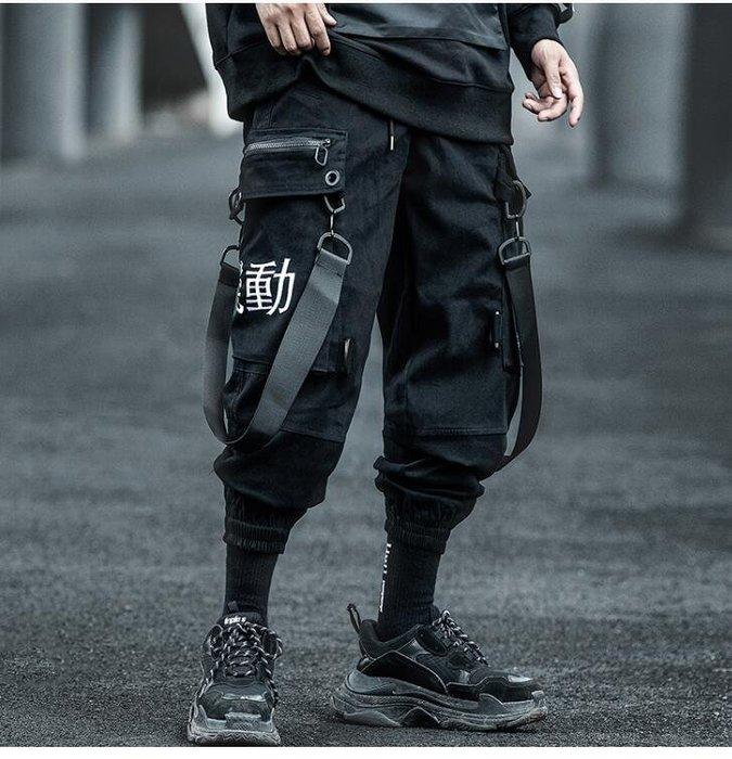 FINDSENSE X 男士薄款寬松嘻哈潮牌機能風束腳褲子