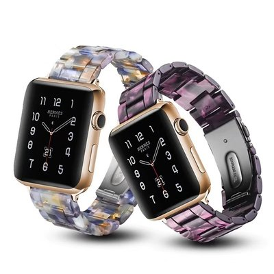 小胖 Apple Watch 5/4/3/2/1 淡雅冰花樹脂蘋果智能手錶錶帶 44 42 40 38mm 替換腕帶