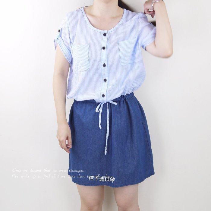 正韓 短袖假兩件洋 直條紋襯衫拼接牛仔裙(天空藍、靛藍) ~惠衣。桔子瑪琪朵