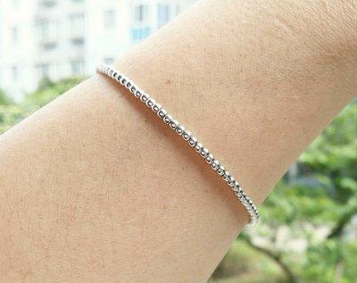 嗨,寶貝銀飾珠寶* 925純銀☆超閃亮 細緻 個性銀珠 粗2.5mm純銀手鍊 情人節禮物