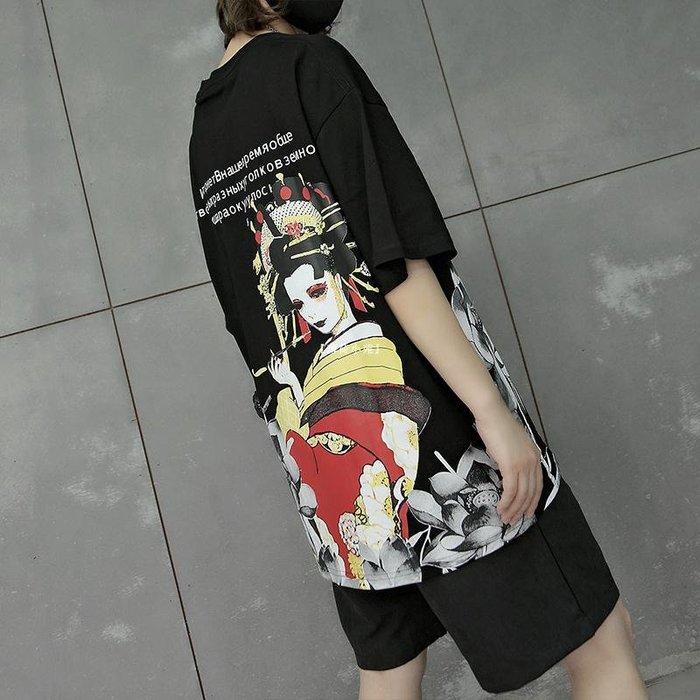 『薄荷小苑』 M家個性圖案寬松嘻哈T恤衫女酷酷風格女裝中性衣服帥氣短袖潮百搭