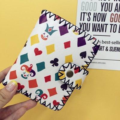 韓國原宿卡通涂鴉印花手工錢包軟妹可愛短款錢夾女復古個性小卡包