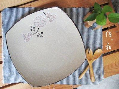 ~佐和陶瓷餐具~【82GA026-10.5 10.5吋四方淺盤(白梅)】/ 開店 餐廳 擺盤 宴會盤 /
