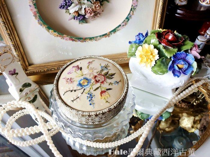 黑爾典藏西洋古董~英國刺繡花卉玻璃蜜粉盒/梳妝台/古董擺飾Vintage英國鍍銀復古塘瓷